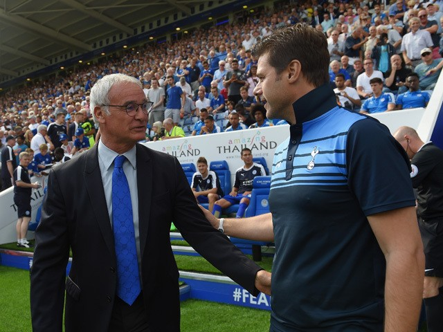 Claudio Ranieri Manager of Leicester City and Mauricio Pochettino Manager of Tottenham Hotspur greet prior to the Barclays Premier League match between Leicester City and Tottenham Hotspur at The King Power Stadium on August 22, 2015
