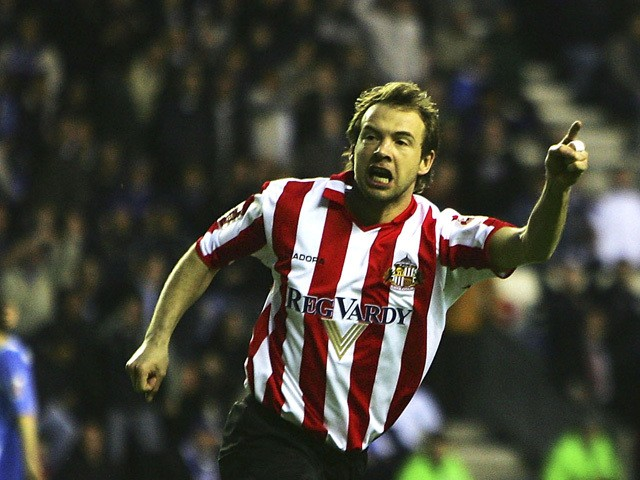 Marcus Sewart of Sunderland celebrates scoring during the Coca-Cola Football League Championship match between Wigan Athletic and Sunderland at the JJB Stadium on April 5, 2005