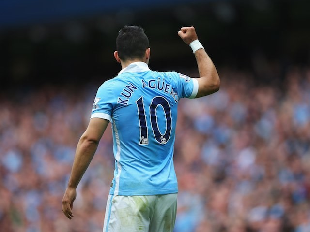 Sergio Aguero celebrates scoring the opener for Man City against Chelsea on August 16, 2015