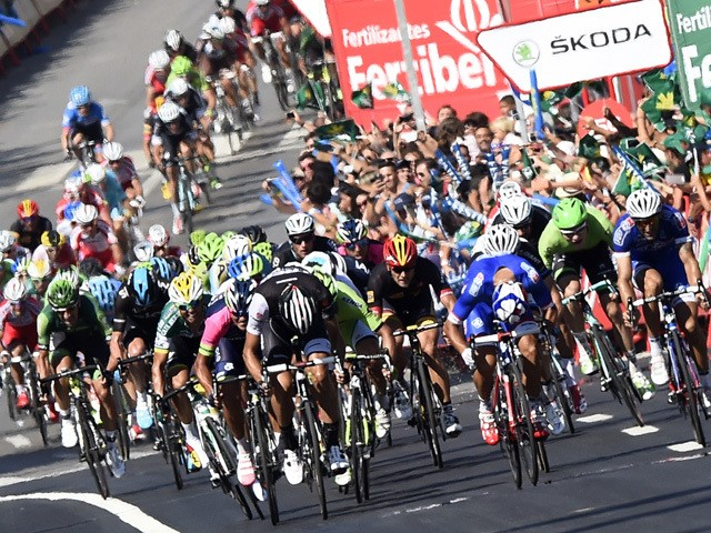 The pack sprint close to the finish line of the 2nd stage of the 69th edition of 'La Vuelta' Tour of Spain, a 174,4 kilometres ride from Algeciras to San Fernando, on August 24, 201