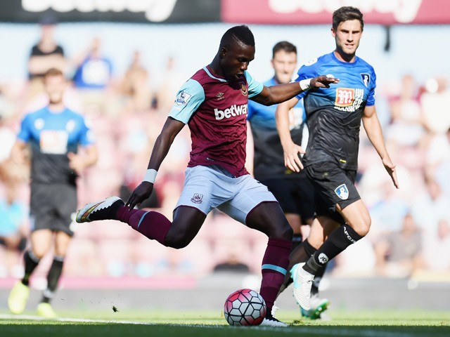 Modibo Maiga of West Ham United scores his team's third goal during the Barclays Premier League match between West Ham United and A.F.C. Bournemouth at the Boleyn Ground on August 22, 2015