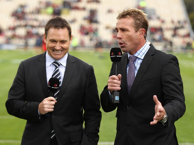 Sky tv commentators Andrew Mehrtens and Justin Marshall Sky commentators during the round one Super Rugby match between the Crusaders and the Rebels at AMI Stadium on February 13, 2015