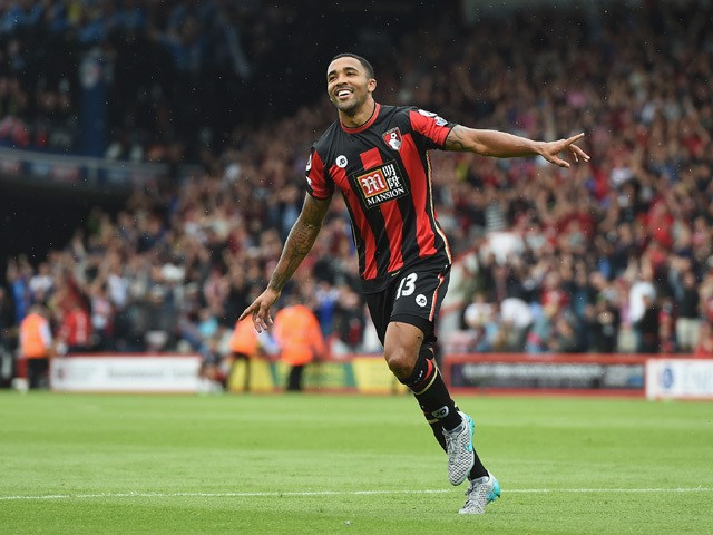Callum Wilson of Bournemouth celebrates scoring his team's first goal during the Barclays Premier League match between A.F.C. Bournemouth and Leicester City at Vitality Stadium on August 29, 2015