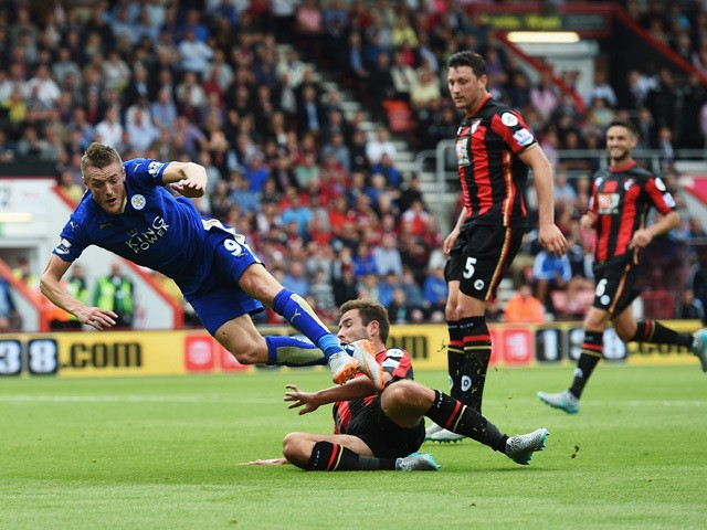 Steve Cook of Bournemouth fouls Jamie Vardy of Leicester City resulting in a penalty during the Barclays Premier League match between A.F.C. Bournemouth and Leicester City at Vitality Stadium on August 29, 2015
