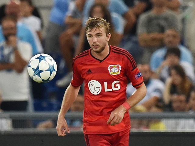 Christoph Kramer of Bayer Leverkusen in action during the UEFA Champions League qualifying round play off first leg match between SS Lazio and Bayer Leverkusen at Olimpico Stadium on August 18, 2015
