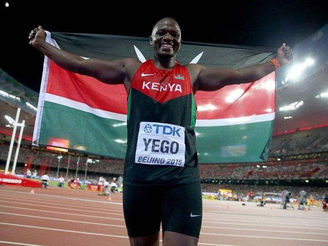 Julius Yego of Kenya celebrates after winning gold in the Men's Javelin final during day five of the 15th IAAF World Athletics Championships Beijing 2015 at Beijing National Stadium on August 26, 2015
