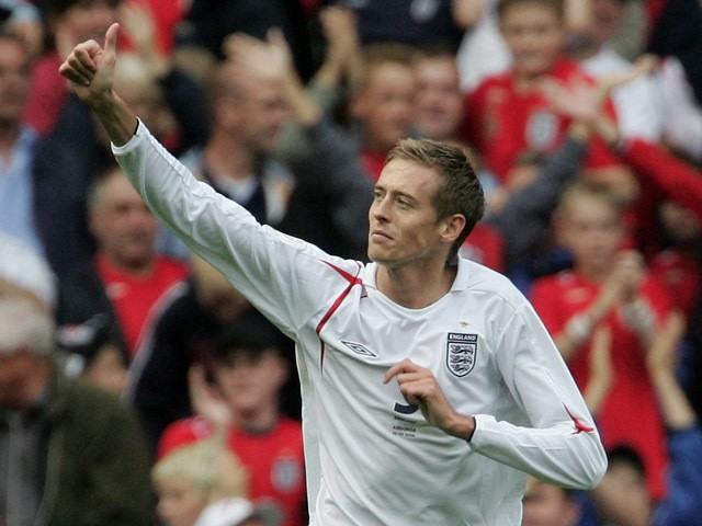 Peter Crouch of England gives a thumbs up after scoring his team's fifth goal during the Euro 2008 Qualifying match between England and Andorra at Old Trafford on September 2, 2006