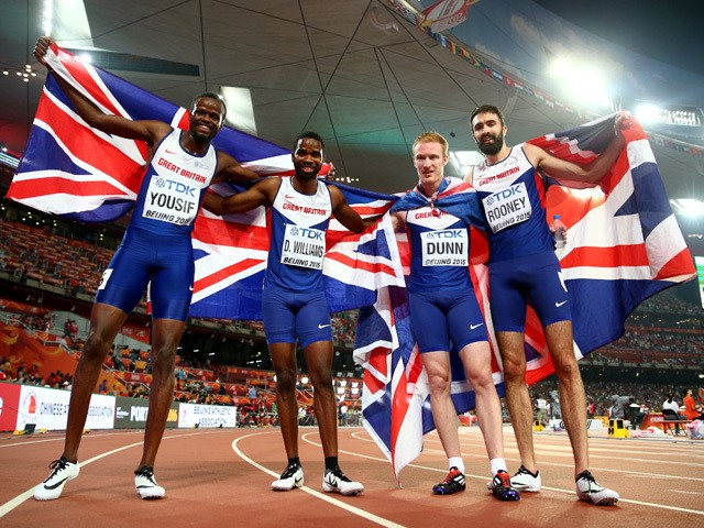 Rabah Yousif of Great Britain, Delanno Williams of Great Britain, Jarryd Dunn of Great Britain and Martyn Rooney of Great Britain celebrate after winning bronze in the Men's 4x400 Metres Relay final during day nine of the 15th IAAF World Athletics Champio