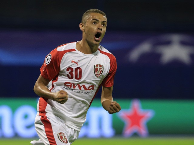 Esquerdinha of KF Skenderbeu celebrates scoring their first goal during the UEFA Champions League Qualifying Round Play Off Second Leg match between Dinamo Zagreb and FC Skenderbeu at Maksimir stadium on August 25, 2015
