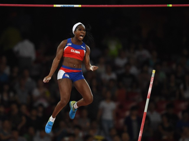 Cuba's Yarisley Silva competes in the final of the women's pole vault athletics event at the 2015 IAAF World Championships at the 'Bird's Nest' National Stadium in Beijing on August 26, 2015