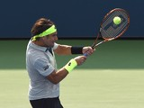David Ferrer of Spain hits a shot against Filip Krajinovic of Serbia during their men's singles round two match during the 2015 US Open at the USTA Billie Jean King National Tennis Center September 2, 2015 in New York. AFP PHOTO / TIMOTHY A. CLARY (Photo