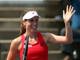 Johanna Konta of Great Britain reacts against Louisa Chirico of the United States during their Women's Singles First Round match on Day Two of the 2015 US Open at the USTA Billie Jean King National Tennis Center on September 1, 2015