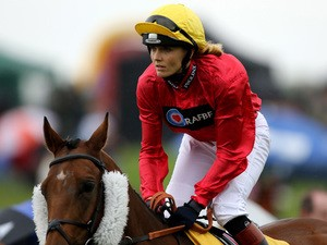 Victoria Pendleton riding Royal Etiquette during the Betfair novice flat amateur race at Ripon Races on August 31, 201