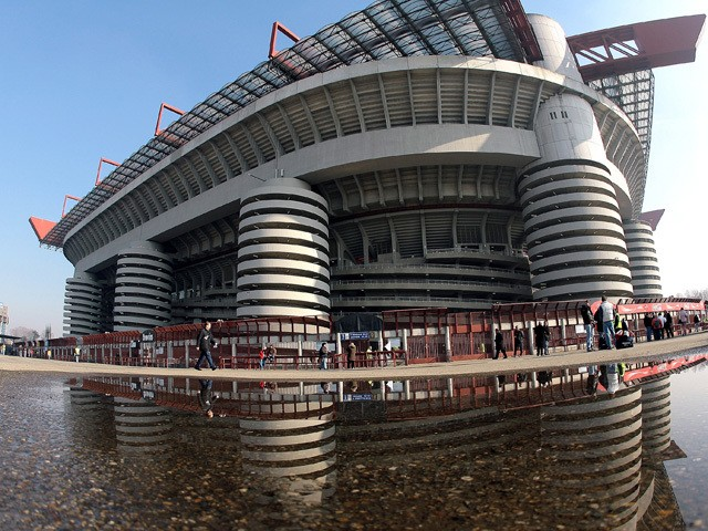 A general view of San Siro Stadium with only few fans before the AC Milan v Livorno serie A match on February 11, 2007