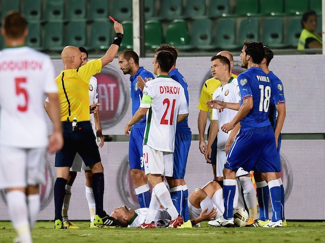 Red card for Daniele De Rossi of Italy (C) during the UEFA EURO 2016 Qualifier match between Italy and Bulgaria on September 6, 2015 in Palermo, Italy.
