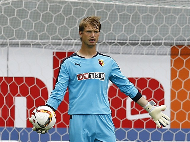 Giedrius Arlauskis of Watford during the pre-season friendly match between SC Paderborn and Watford FC at Benteler Arena on July 19, 2015