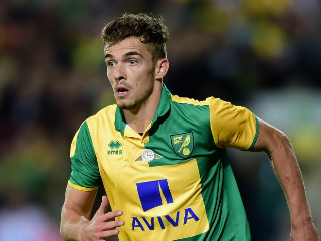 Harry Toffolo of Norwich City in action during the pre season friendly match between Norwich City and West Ham United at Carrow Road on July 28, 2015 in Norwich, England.