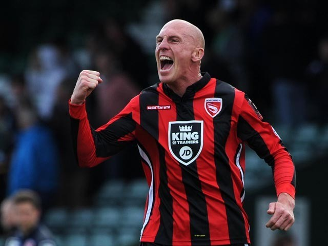 Kevin Ellison of Morecambe celebrates victory during the Sky Bet League Two match between Yeovil Town and Morecambe at Huish Park on September 5, 2015