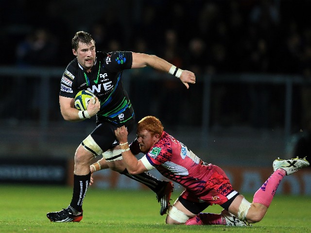 Morgan Allen of Ospreys is tackled by Joel Conlon of Exeter Chiefs during the LV= Cup match between Exeter Chiefs and Ospreys at Sandy Park on November 17, 2012 in Exeter, England.