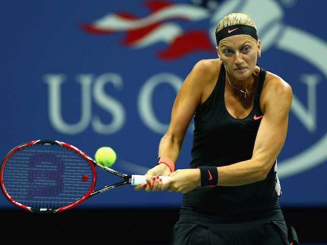 Petra Kvitova of the Czech Republic plays a backhand during her first round match against Laura Siegemund of Germany on Day Two of the 2015 US Open at the USTA Billie Jean King National Tennis Center on September 1, 2015 in the Flushing neighborhood of th