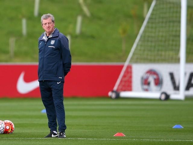 Roy Hodgson surveys the land during an England training session on September 2, 2015