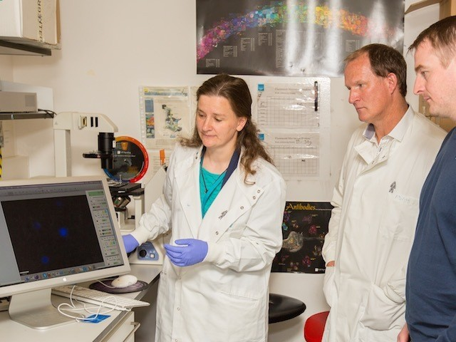 Simon Grayson at the Prostate Cancer UK research centre