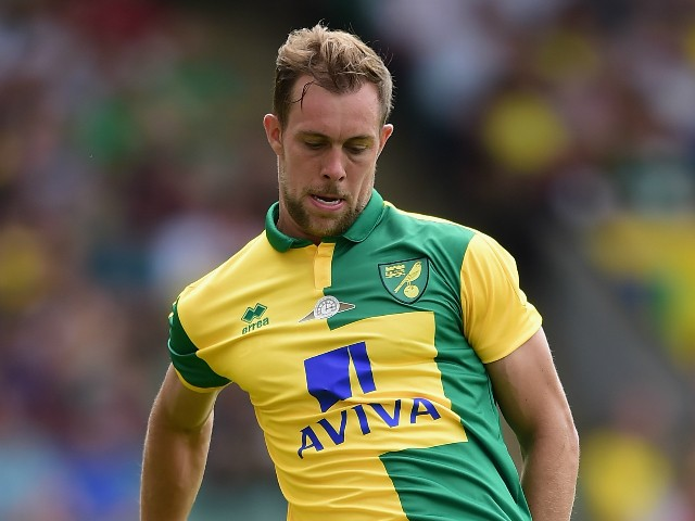 Steven Whittaker of Norwich City in action during the pre season friendly match between Norwich City and Brentford at Carrow Road on August 1, 2015 in Norwich, England.