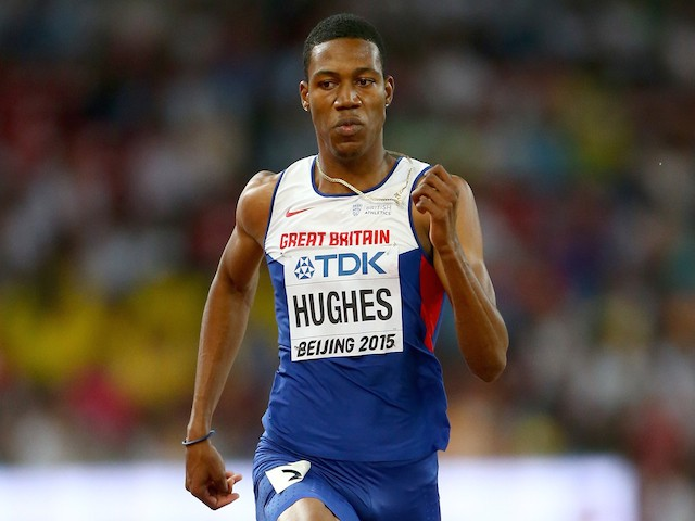 Zharnel Hughes of Great Britain competes in the Men's 200 metres heats during day four of the 15th IAAF World Athletics Championships Beijing 2015 at Beijing National Stadium on August 25, 2015