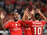 Benfica's Konstantinos Mitroglou celebrates scoring against Belenenses on September 11, 2015