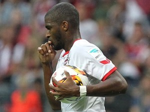 Anthony Modeste runs with the ball after pulling one back for Koln against Eintracht Frankfurt on September 12, 2015