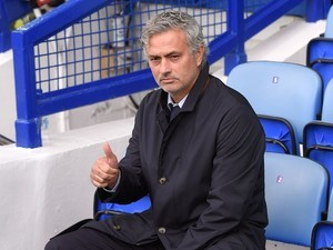 Chelsea boss Jose Mourinho gives the thumbs-up prior to his side's clash with Everton on September 12, 2015