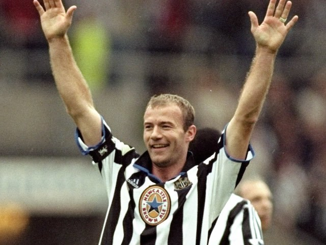 Alan Shearer celebrates putting five past Sheffield Wednesday on September 19, 1999