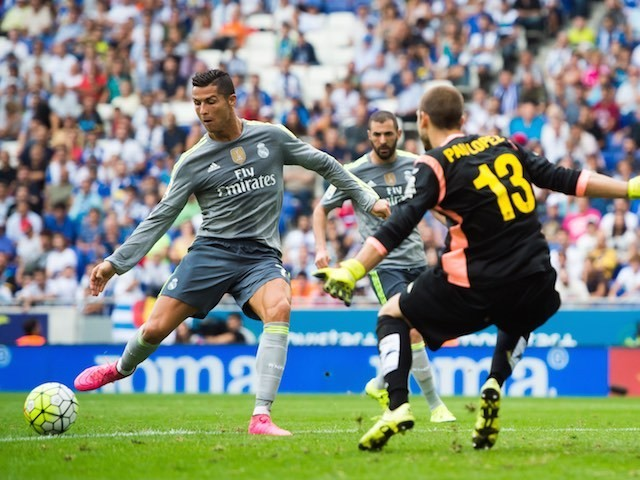 Cristiano Ronaldo scores his fourth against Espanyol on September 12, 2015