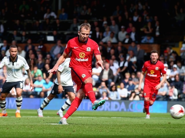 Blackburn's Jordan Rhodes scores from the penalty spot against Fulham on September 13, 2015
