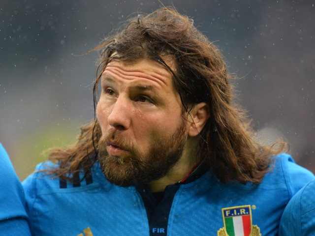 Italy's prop Martin Castrogiovanni lines up before the Six Nations international rugby union match between England and Italy at Twickenham Stadium southwest of London on February 14, 2015.