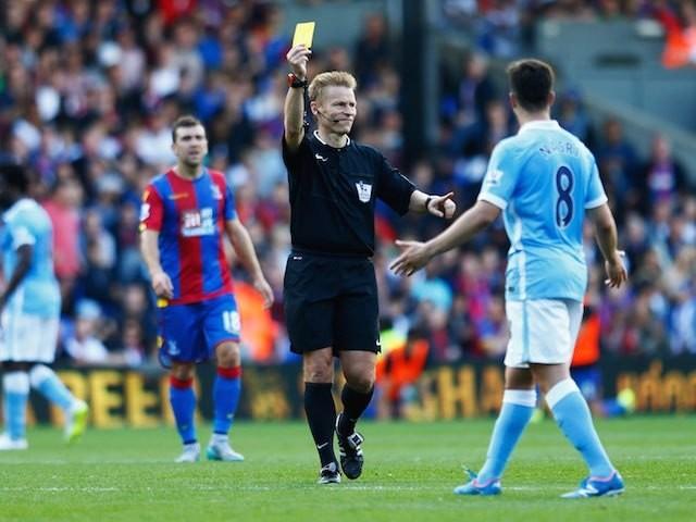 Mike Jones serves up some yellow card realness to Man City's Samir Nasri at Selhurst Park on September 12, 2015