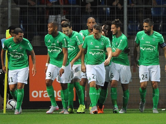 Saint-Etienne players celebrate Moustapha Bayal Sall's goal against Montpellier on September 12, 2015