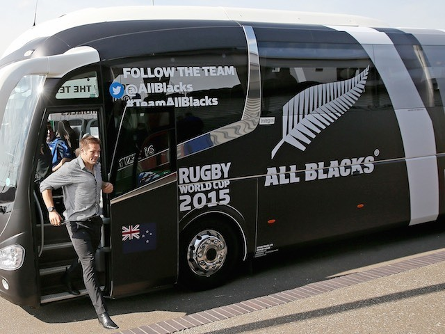 The New Zealand team arrive at Heathrow for the Rugby World Cup on September 11, 2015
