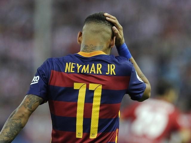 Neymar celebrates levelling things up for Barcelona against Atletico Madrid on September 12, 2015