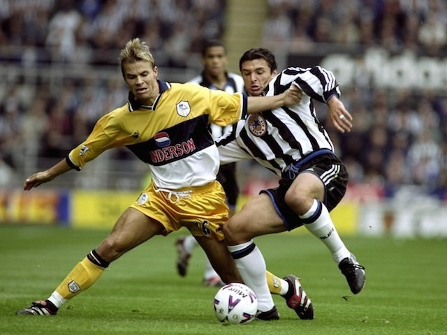 Niclas Alexandersson and Gary Speed battle for the ball during the match between Newcastle and Sheffield Wednesday on September 19, 1999