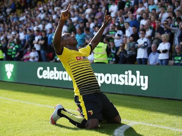 Odion Ighalo celebrates scoring Watford's opener against Swansea on September 12, 2015