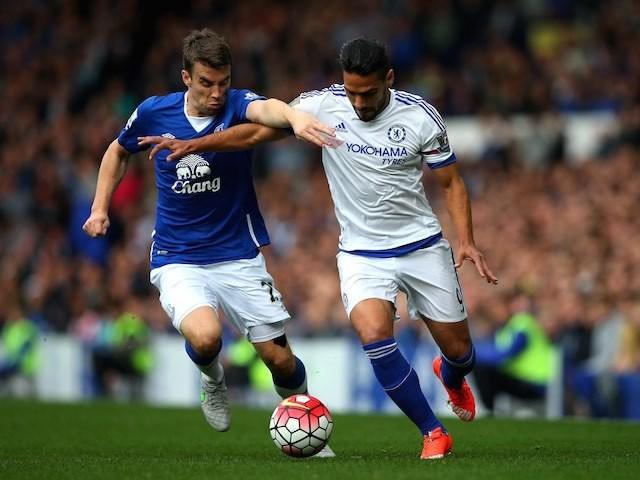 Chelsea's Radamel Falcao battles with Seamus Coleman of Everton on September 12, 2015