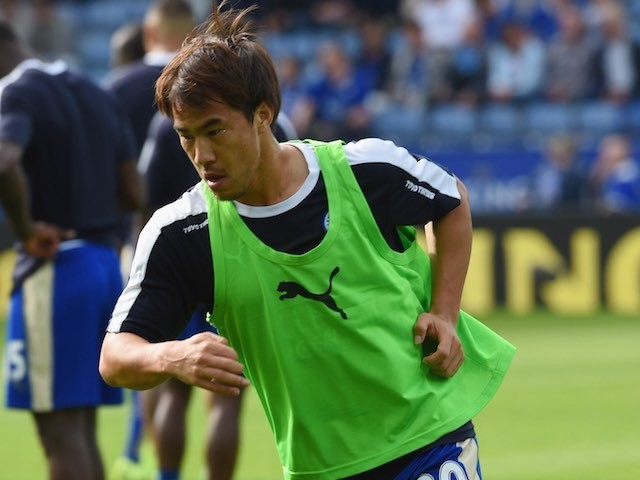 Leicester's Shinji Okazaki warms up prior to the game with Aston Villa on September 13, 2015