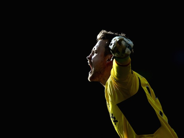 Liverpool keeper Simon Mignolet screams during the game with Man Utd on September 12, 2015