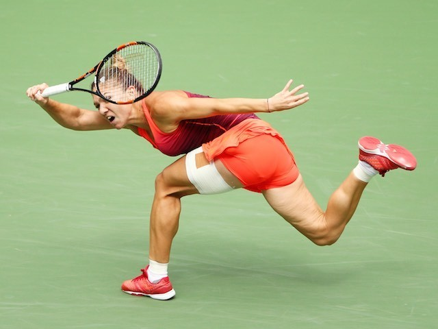 Simona Halep in action during the US Open semi-final on September 11, 2015