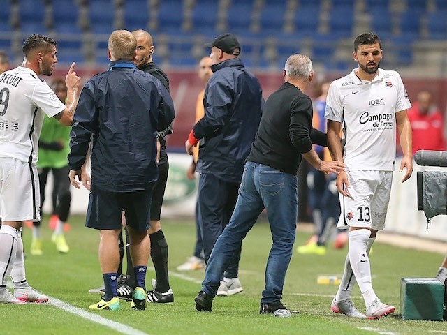 Naughty boy Syam Ben Youssef is sent off for Caen during the game with Troyes on September 12, 2015