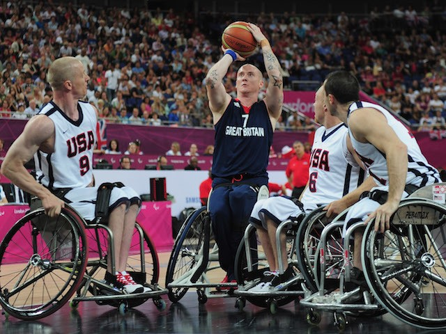 Terry Bywater of Great Britain attempts to shoot during the bronze medal Wheelchair Basketball match between United States and Great Britain on day 10 of the London 2012 Paralympic Games at North Greenwich Arena on September 8, 2012 in London, England.