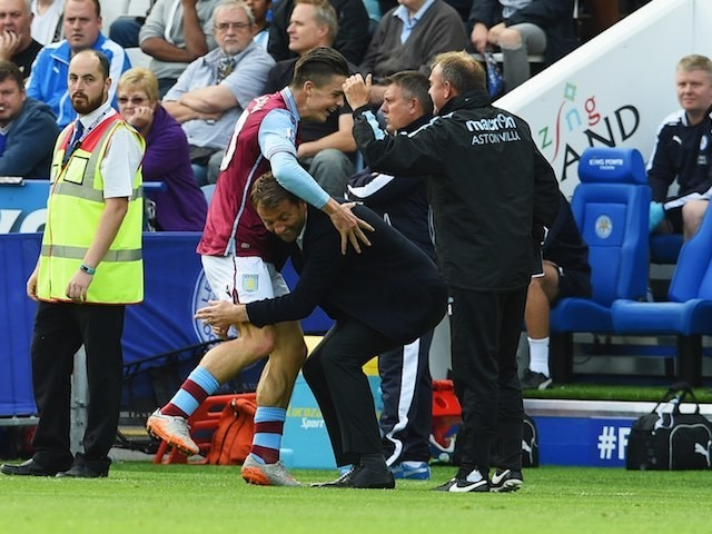 Tim Sherwood goes for the legs after Jack Grealish scores for Villa against Leicester on September 13, 2015
