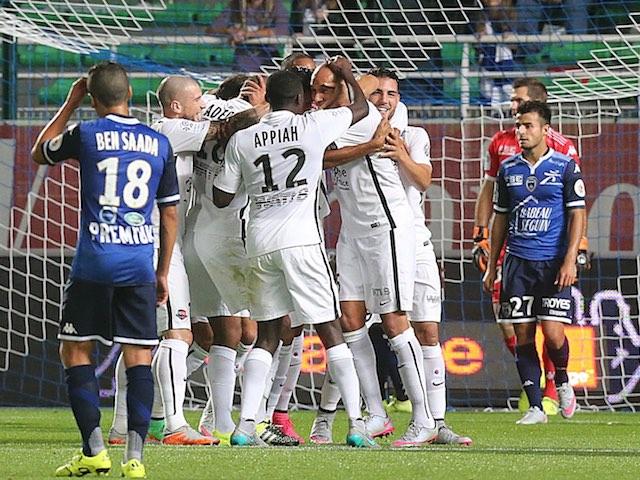 Syam Ben Youssef celebrates scoring for Caen against Troyes on September 12, 2015