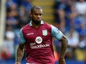 Leandro Bacuna of Aston Villa in action during the Barclays Premier League match between Leicester City v Aston Villa at the King Power Staduim on September 13, 2015
